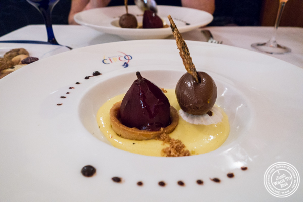 Poached pear at Osteria Del Circo in NYC, NY