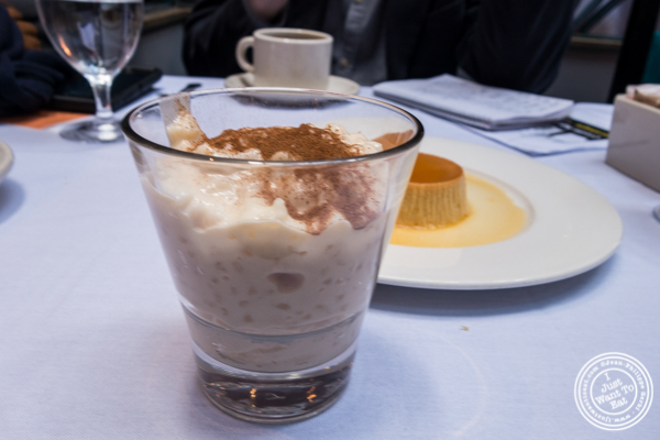 Rice pudding at Victor's Café, Cuban restaurant in NYC, NY