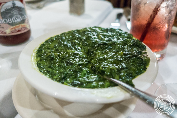 Spinach a la creme at Bobby Van's on Park Avenue, NYC, NY