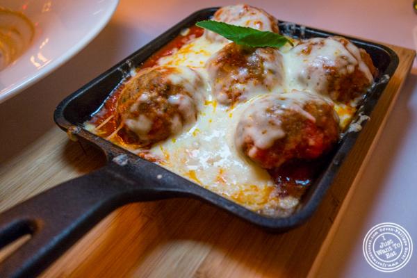 Meatballs parmigiana at ORO, Italian restaurant in Long Island City