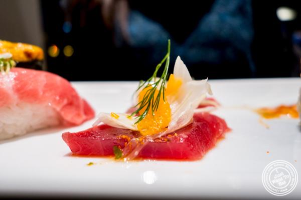 Mandarin and fennel tuna sashimi at Haru in Hell's Kitchen, NYC, NY