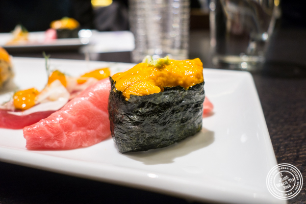 Uni roll at Haru in Hell's Kitchen, NYC, NY