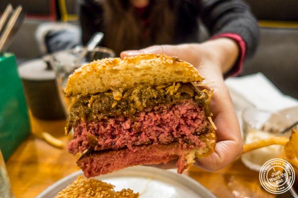 Signature burger at Salvation Burger in NYC, NY