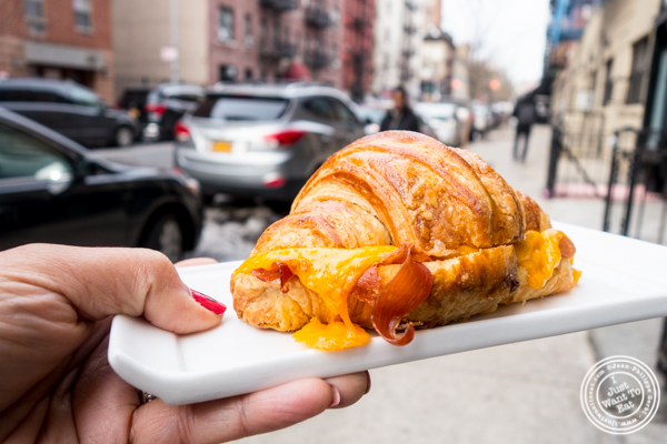 Cheddar cheese and prosciutto croissant at Sugar Sketch in the East Village, NYC, NY