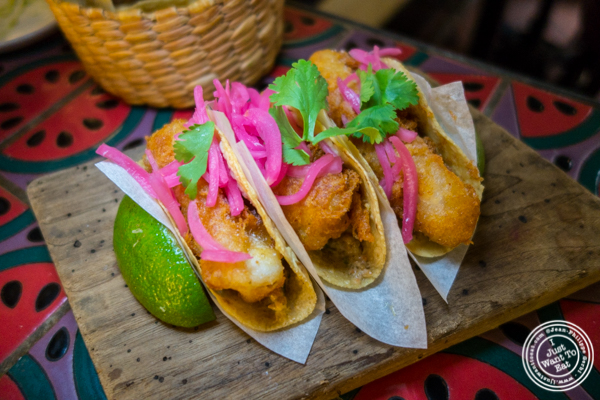 Fish tacos at Salvation Taco in NYC, NY