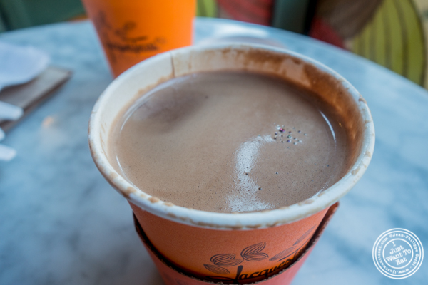 Classic hot chocolate at Jacques Torres on the Upper West Side, NYC, NY