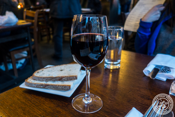 Glass of Pinot Noir from Italy at Bella Luna on the Upper West Side, NYC, NY