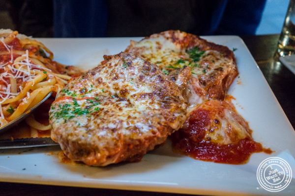 Eggplant parmesan at Bella Luna on the Upper West Side, NYC, NY