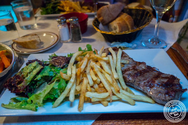 Steak frites at Tout Va Bien in NYC, NY
