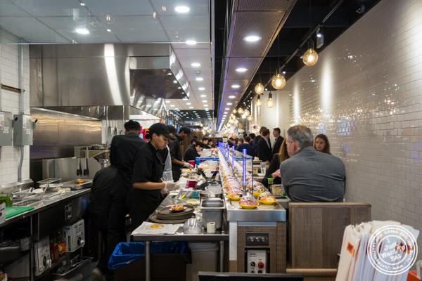 Dining room of Yo! Sushi in NYC, NY