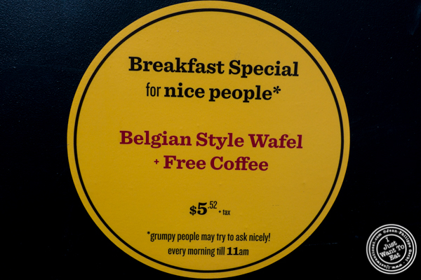 Breakfast promotion at Wafels and Dinges in the East Village, NYC, NY