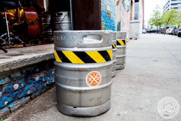 Beer kegs at The Rockaway Brewing Company in Long Island City