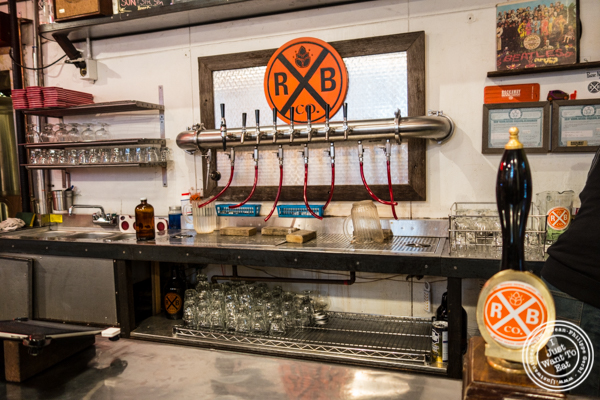 Beers on tap at The Rockaway Brewing Company in Long Island City