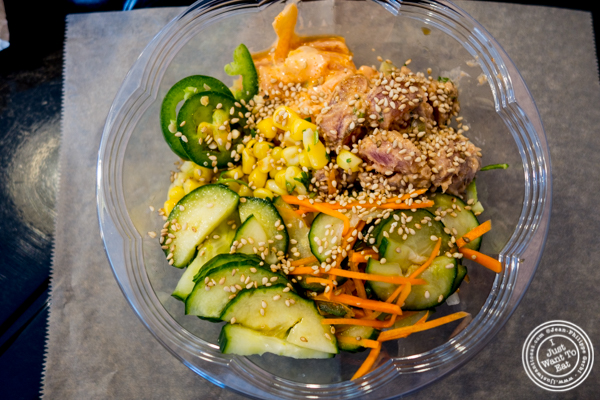 Pele bowl at Marinated tuna and salmon bowl at Makai Poke Co in Hoboken, NJ