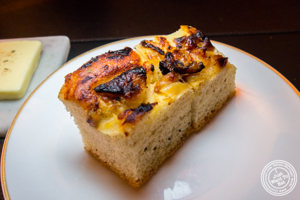 Focaccia bread at Cut by Wolfgang Puck in TriBeCa, NYC