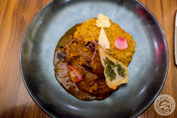 Braised lamb at Indian Accent in NYC, NY
