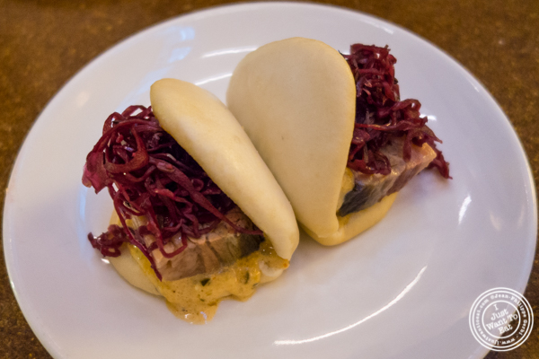 Corned beef buns at Momofuku má pêche in NYC, NY