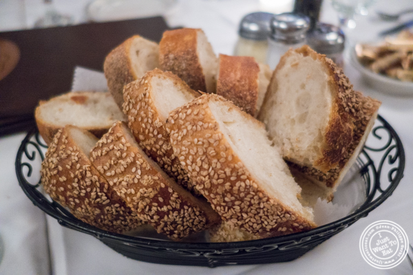 Bread basket at Tony's di Napoli in Times Square, NYC, NY