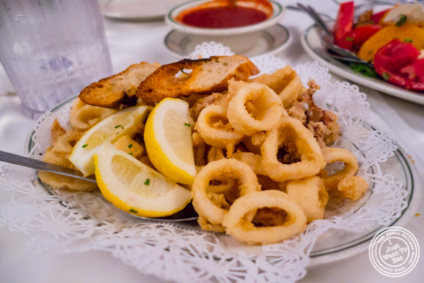 Fried calamari at Tony's di Napoli in Times Square, NYC, NY