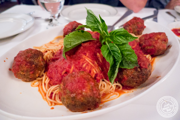 Spaghetti with meatballs at Tony's di Napoli in Times Square, NYC, NY