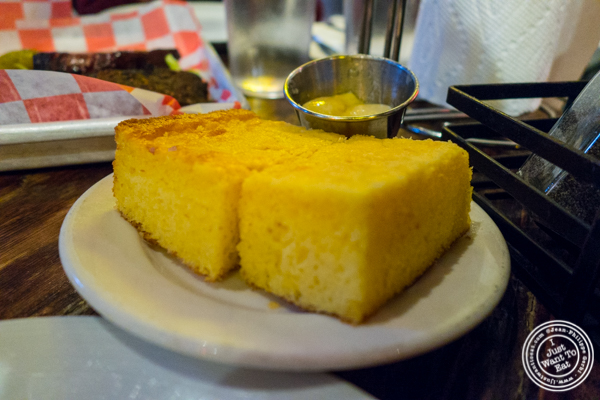 Corn bread with honey butter at Southern Hospitality in Hell's Kitchen, NYC