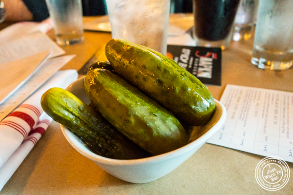 Pickles at 5 Napkin Burger near Union Square, NYC, NY
