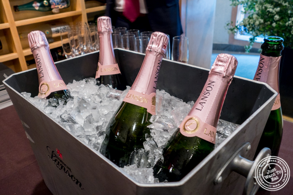 Bottles of Lanson Champagne at Sushi Seki Times Square in NYC, NY