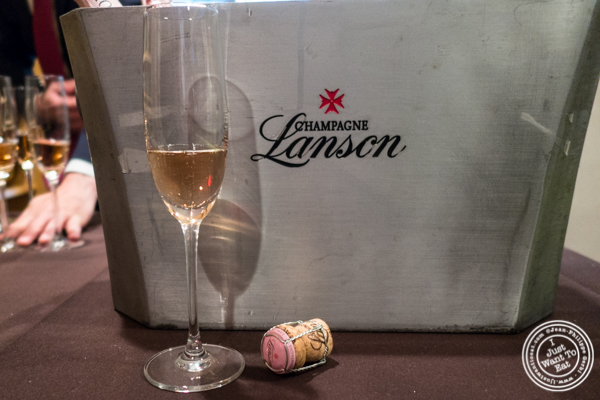 Glass of Lanson Champagne at Sushi Seki Times Square in NYC, NY
