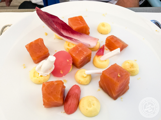 Smoked salmon at Brasserie of the Imperial Palace in Annecy, France
