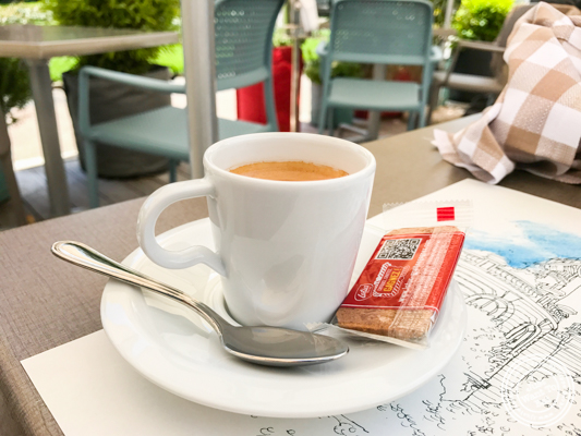 Espresso at Brasserie of the Imperial Palace in Annecy, France