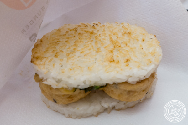 Tofu Ganmo rice burger at Yonekichi in Hell's Kitchen, NYC