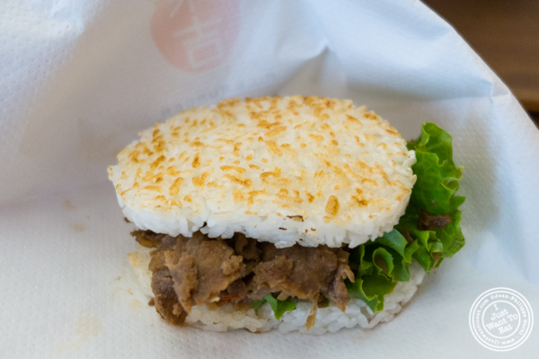 Sukiyaki beef rice burger at Yonekichi in Hell's Kitchen, NYC