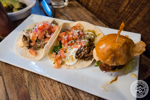 Tacos and slider at Mexicue in NYC, New York