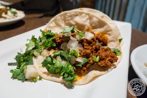 Chorizo picado taco at Habanero Blues in NYC, NY