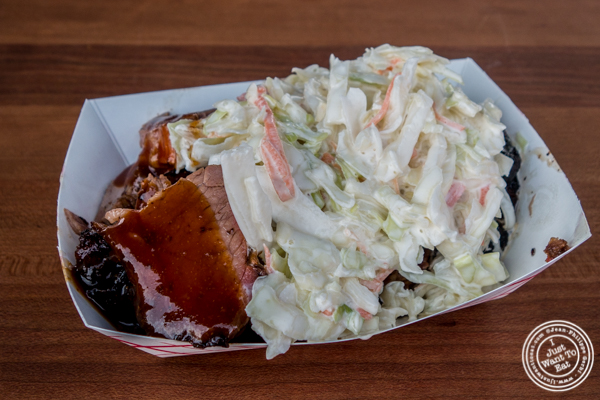 Brisket and cole slaw at Butcher Bar BBQ at LIC Flea and Food Market