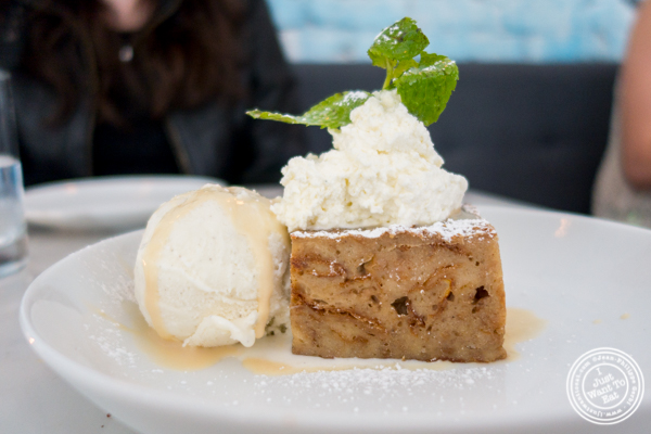 Banana foster bread pudding at Porter Collins in Hoboken, NJ