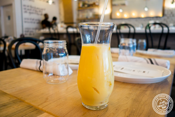 Mango lassi at Badshah Modern Indian in Hell's Kitchen