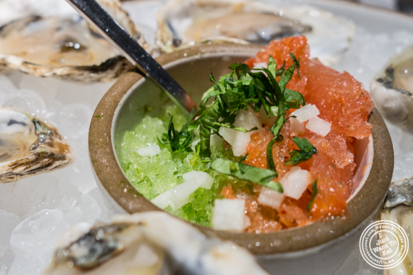 Oysters with sangrita at Cosme in NYC, NY
