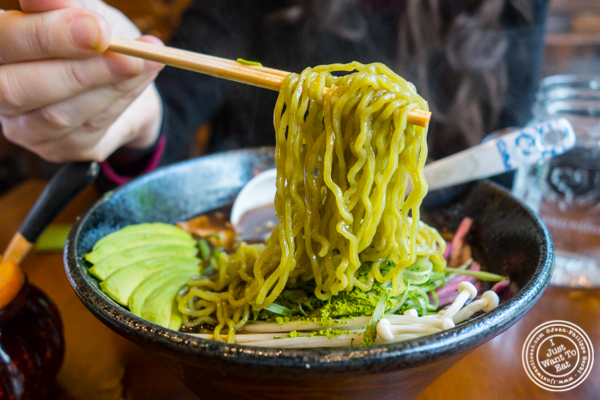 Matcha shoyu ramen spinach noddles at Ichiba Ramen by Shinokubo, NYC, NY