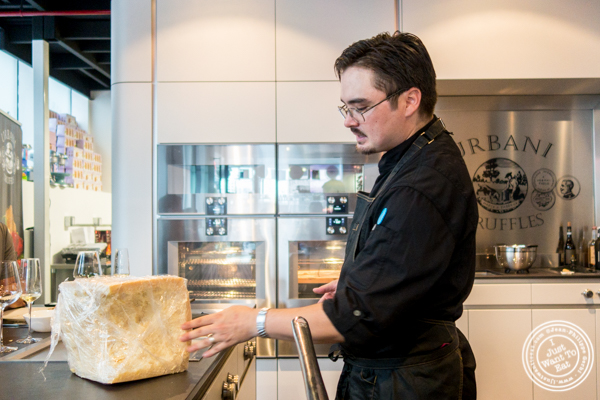 Chef Ken talking about grana padano at Urbani Truffle Lab in NYC, NY