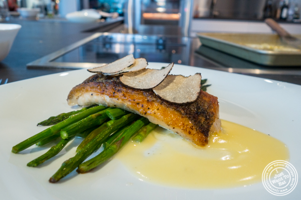 Seared sea bass with truffles at Urbani Truffle Lab in NYC, NY