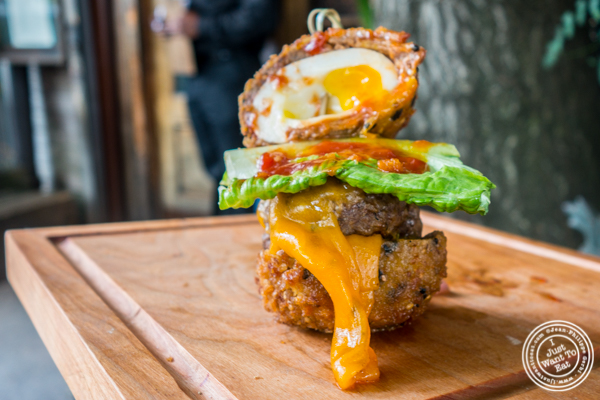 Everything Scotch egg burger at The Bedford in Williamsburg, Brooklyn, NY