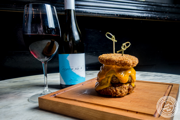 Cloud No 9 Pinot Noir and mac and cheese burger at The Bedford in Williamsburg, Brooklyn, NY