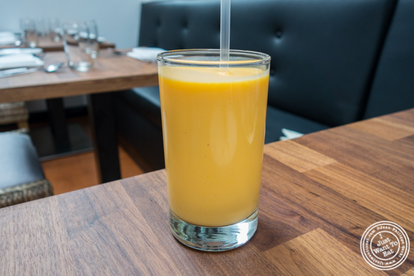 Mango lassi at Imli Urban Indian Food on the Upper East Side, NYC