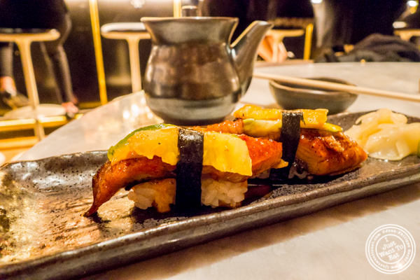 Dressed sushi with eel, pineapple and kojujang at Blue Fin at The W Hotel in Times Square