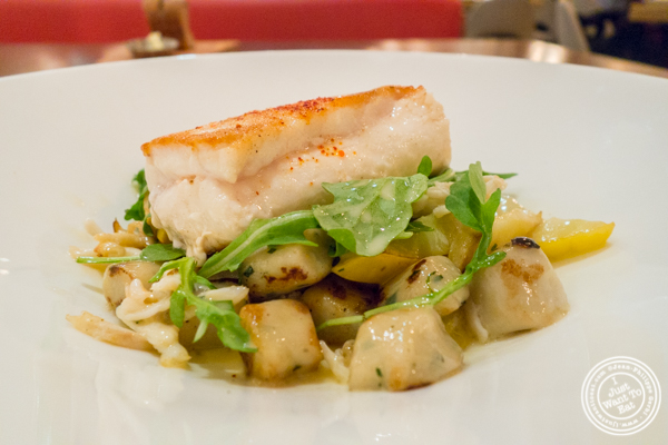 Halibut a la plancha at Blue Fin at The W Hotel in Times Square