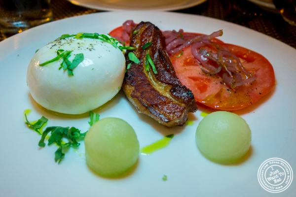 Billy's bacon and burrata at Delmonico's Kitchen in Gramercy, NYC, NY