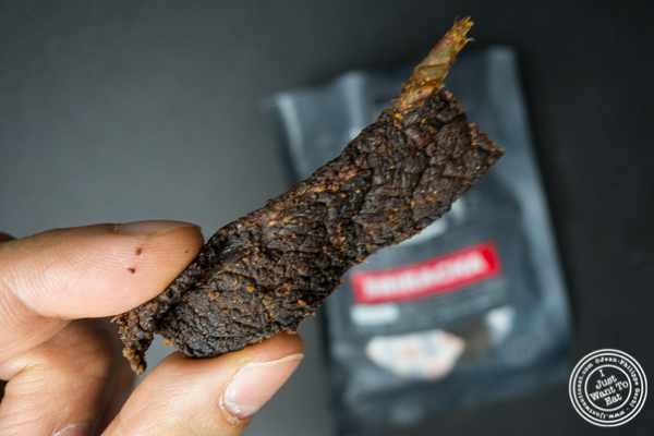 Tasting kitchen Sriracha Beef Jerky from People's Choice Beef Jerky