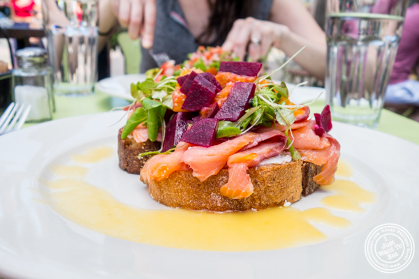 Salmon and goat cheese toast at The Hoboken Gourmet Company
