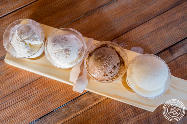 Beer ice cream flight from Tipsy Scoop at Lantern Hall in Brooklyn, NY